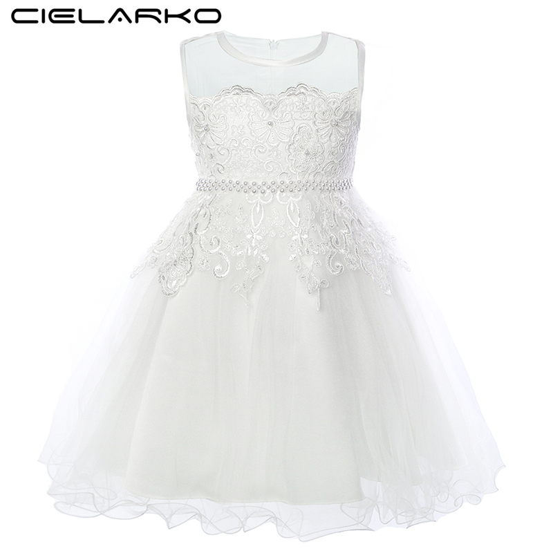 Cielarko White Flower Girl Dress for Wedding Party Formal Kids Dresses Elegant Beading Princess Ball Gown Occasion Toddler Frock