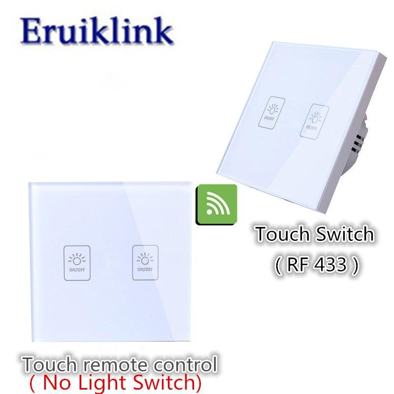 EU/UK estándar 1/2/3 gang 2 vías interruptor de pared, panel de vidrio interruptor de la lámpara para RF433 casa inteligente interruptor de control remoto inalámbrico
