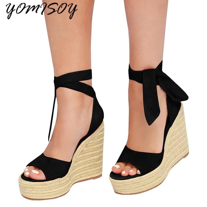 Best buy ) }}Women Ankle Strap Espadrilles Wedge Sandals 2018 Summer Canvas Platform Wedges