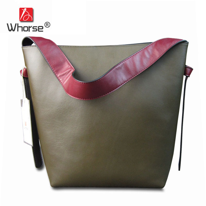 [WHORSE] New Casual Tote Patchwork Designer Brand Women Genuine Leather Handbags Open Bucket Shoulder Bag Messenger Bags W07540 [whorse] brand luxury fashion designer genuine leather bucket bag women real cowhide handbag messenger bags casual tote w07190