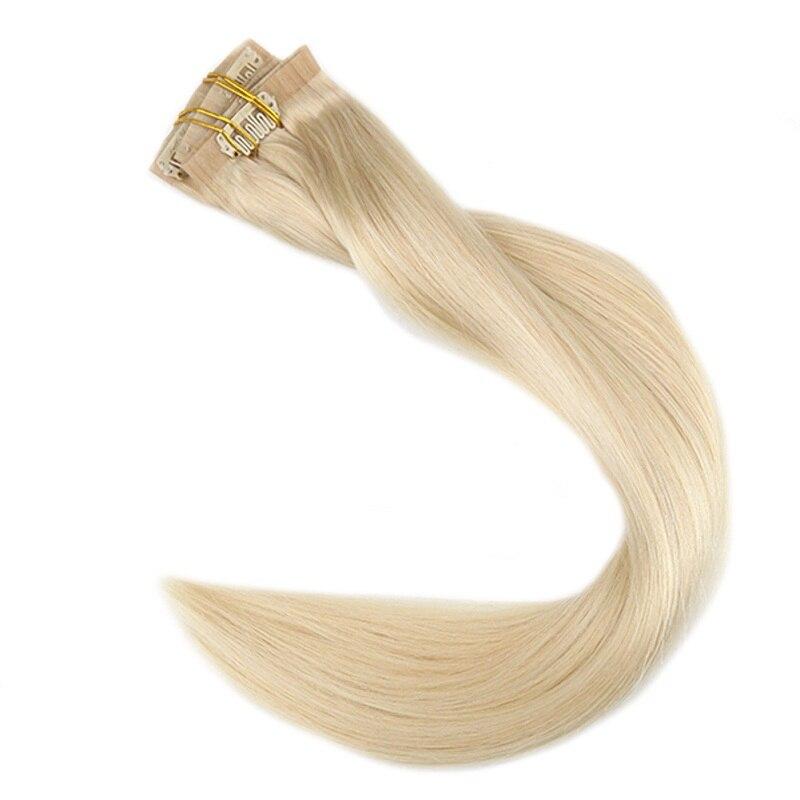 Pleine pince de brillance dans 8 pièces 100g cheveux blonds pince en polyuréthane dans l'extension couleur unie sans couture peau trame Machine faite Remy 100% pince humaine sur