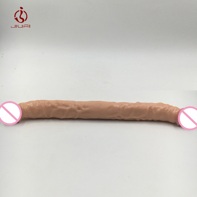 JIUAI Soft Double Heads Upturned Dildo For Women Lesbian,Double Penetration Anal Dildo,Sex Products, Adult Ejaculating Sex Toys