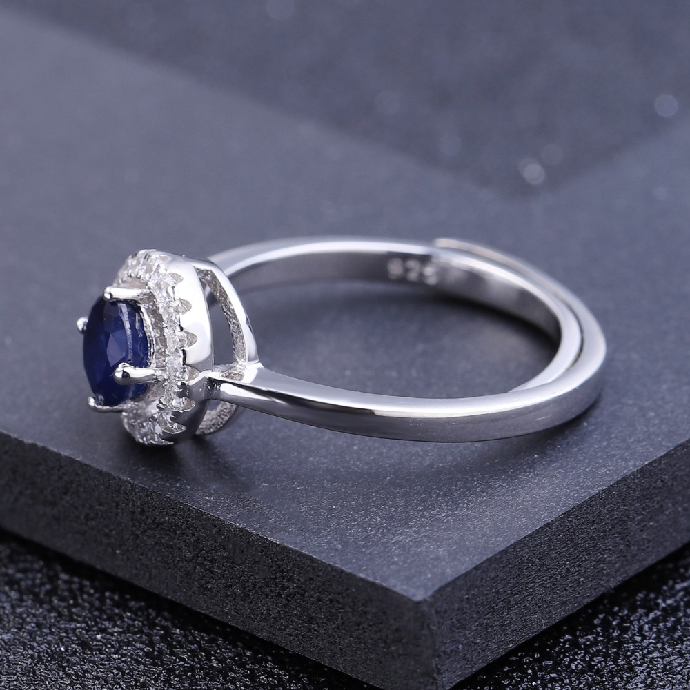 Image 5 - GEMS BALLET 0.70Ct Natural Blue Sapphire Genuine 925 Sterling Silver Adjustable Rings For Women Wedding Luxury Fine Jewelryring forrings for womenring ring -