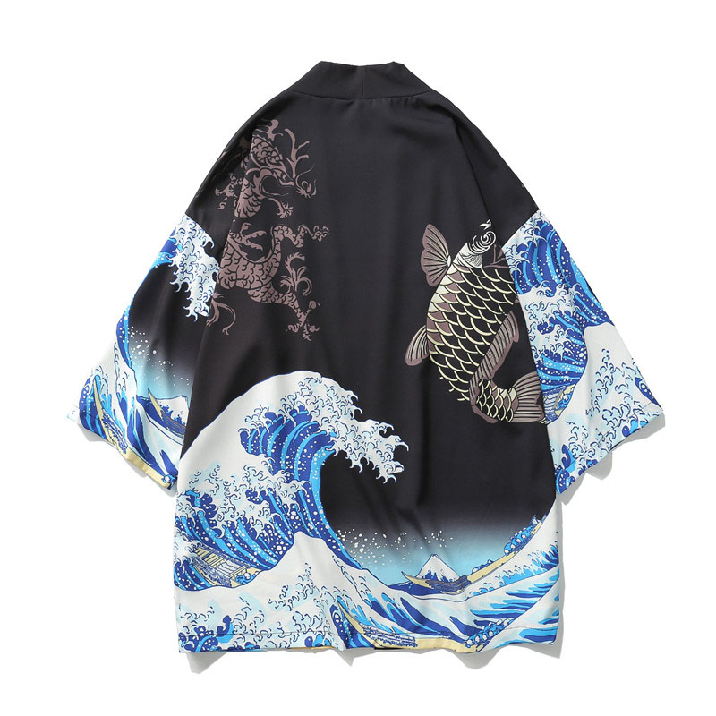 e6f7161ffdc5e7 Japanese Kimono Cardigan Men Wave and Carp Print Long Kimono Cardigan Men  Thin Mens Kimono Cardigan Jacket Coat US Size
