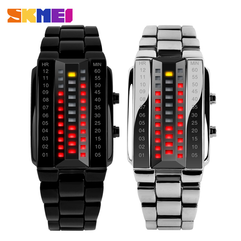 Wristwatch Binary LED Electronic-Display Stainless-Steel Waterproof Red Sport Luminous