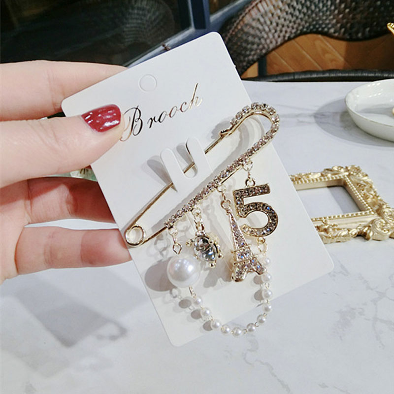 luxury Trend Pin Brooch Chain Rhinestone Pearl Tower Letter 5 Brooch Pin Silk Scarf Shawl Buckle Woman in Brooches from Jewelry Accessories