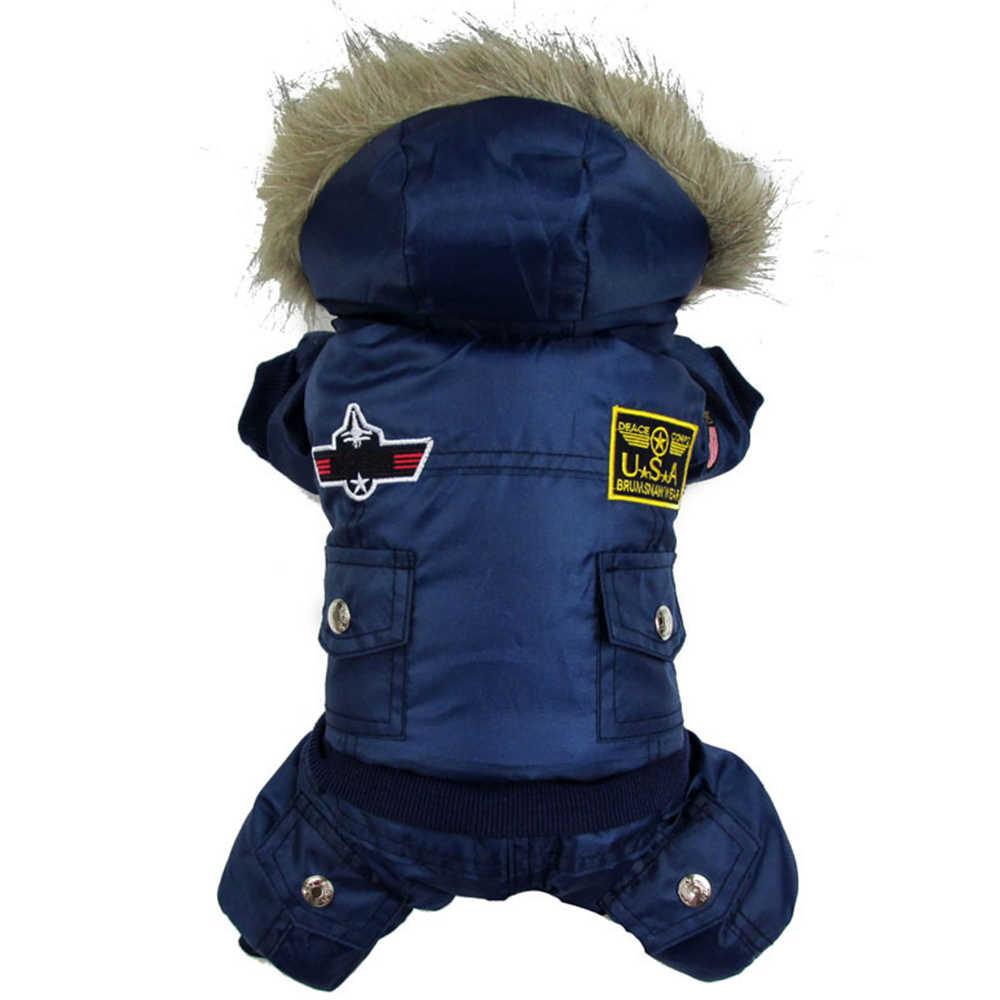 Hewan Peliharaan Anjing Musim Dingin Pakaian Mantel Empuk Celana Terusan Kerudung Kostum XS-XL Terbaik