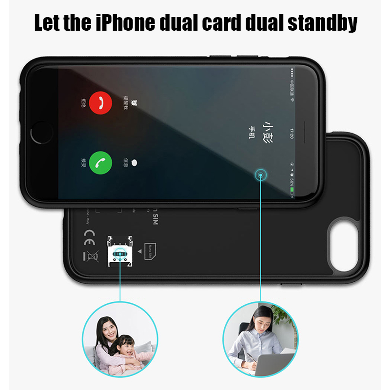 Image 5 - Dual Sim Card Adapter Bluetooth Case for iPhone 6 PLUS 7 PLUS  8 PLUS 6S PLUS Slim Dual Standby Adapter Active Sim Card Holder-in SIM Card Adapters from Cellphones & Telecommunications