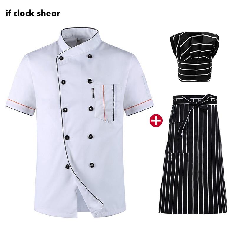 Chef Short Sleeve Summer Set Restaurant Hotel Kitchen Workwear Men And Women Uniform Breathable Thin Jacket + Hat + Apron White