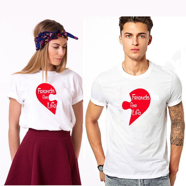 125aab330 EnjoytheSpirit Friends for Life Puzzle Red Love White Couple Matching Tee  Shirt Good Quality 100% Cotton Funny Tee