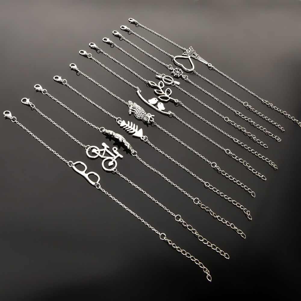 Prosty styl posrebrzane Charm bransoletka biżuteria prezent ślub bankiet hurtownia najwyższej jakości
