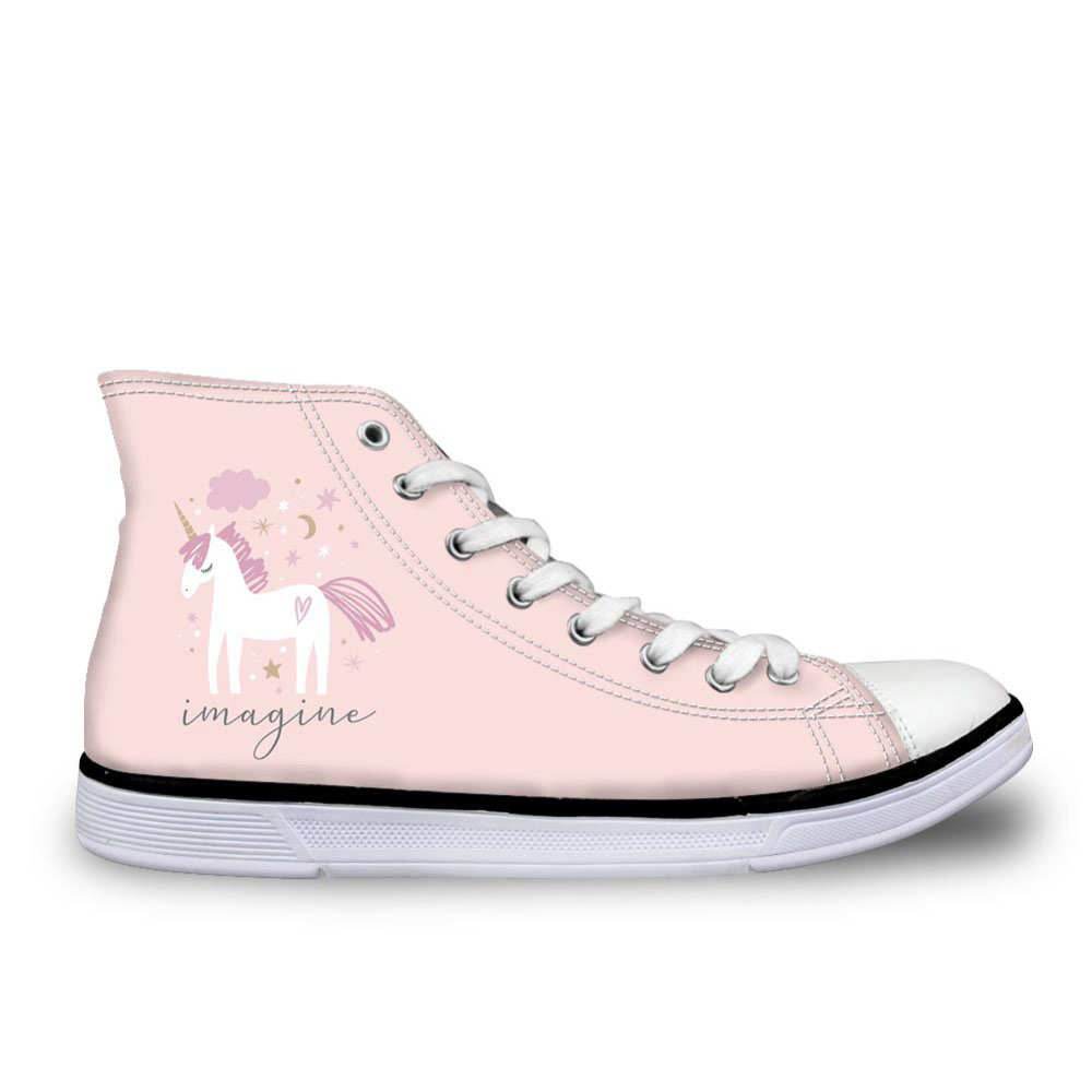 Lady Pink Designer Sneakers Animals Unicorn Printed Canvas Shoes Casual Femme Spring Autumn High Top Vulcanize Shoes