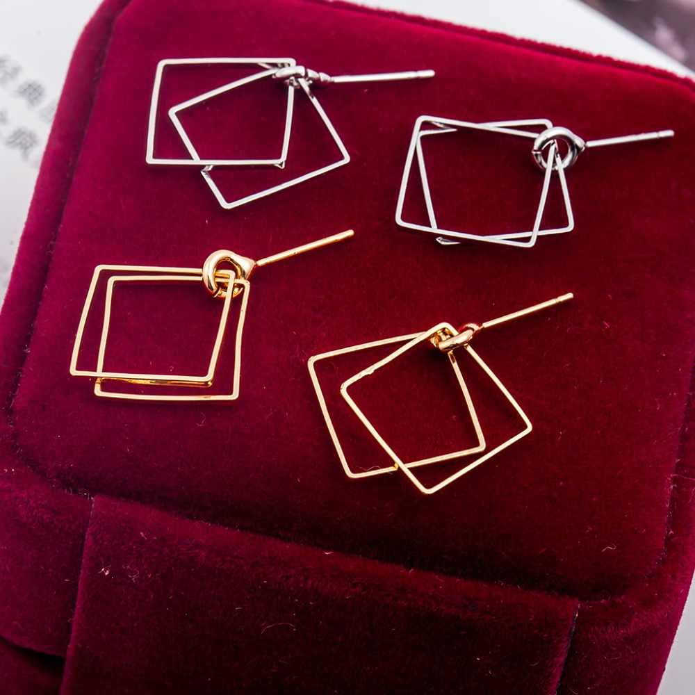 Hình Học đơn giản bông tai Hình Vuông Vàng và bạc của phụ nữ bông tai hình học Kim Loại đồ trang sức hợp kim cho phụ nữ Chống Oxy Hóa Người Bạn