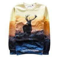 Alisister Newest Deer Sweatshirt Women Men 3d Animal Sweatshirts Casual Moleton Feminino Harajuku Hoodies Pullovers Tops