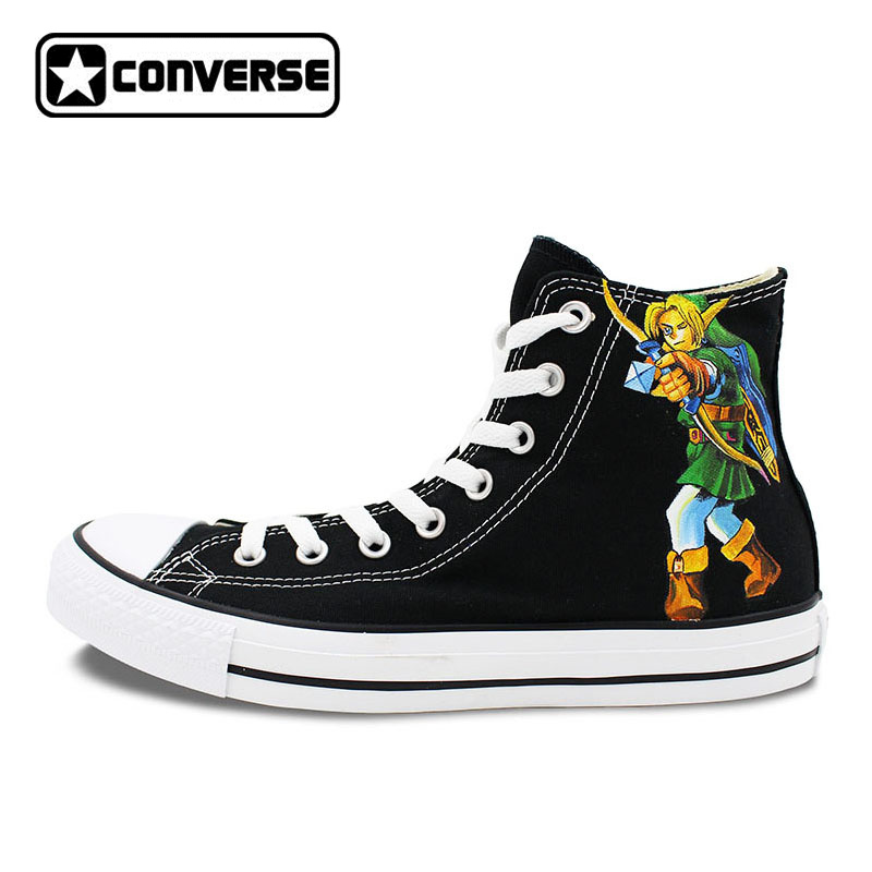 Boys Girls Converse Chuck Taylor Black Sneakers The Legend of Zelda Design Hand Painted High Top Canvas Shoes Man Woman