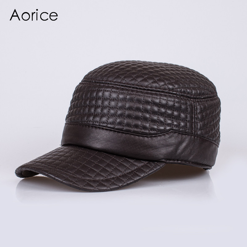 HL038  genuine leather baseball cap/hat brand new men's real  leather adjustable army caps/hats with 2 colors brand bonnet beanies knitted winter hat caps skullies winter hats for women men beanie warm baggy cap wool gorros touca hat 2017