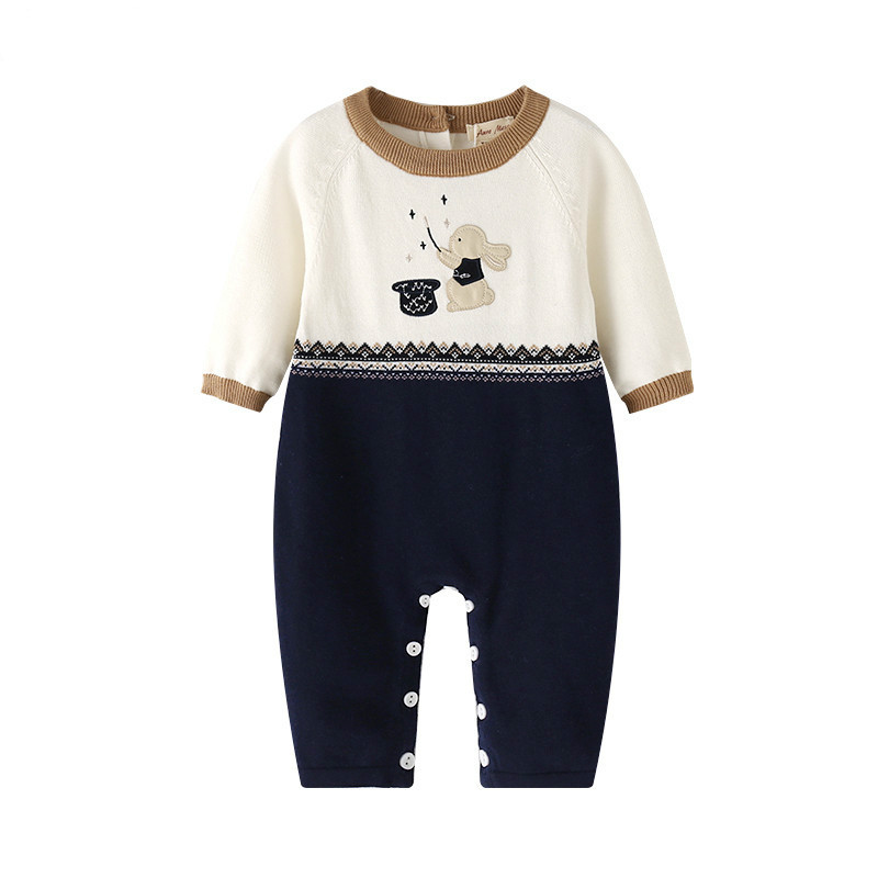 Cartoon Rabbit Baby Knitted Rompers Baby Boys Long Sleeve Cute Cotton Jumpsuit for Spring Autumn Toddler Boys Onesie newborn baby rompers baby clothing 100% cotton infant jumpsuit ropa bebe long sleeve girl boys rompers costumes baby romper