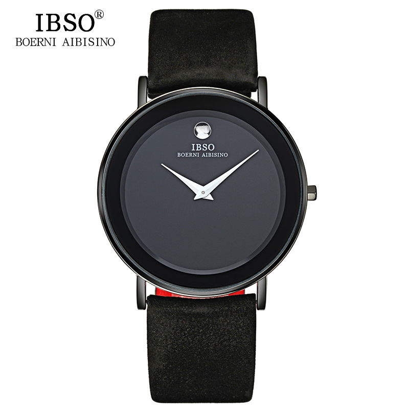 IBSO 7MM Ultra Watch Men Quartz Wristwatches 2018 Genuine Leather Strap Mens Watches Top Brand Luxury Fashion Relogio Masculino nine west women s ruffled keyhole crepe dress 6 iris combo
