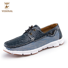 VESONAL Hot Sale 2017 For Brand Mocassin Male Adult Casual Shoes Men Loafers Man Crocodile Leather Oxfords Driver Boat Footwear