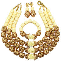 Fashion White Artificial Coral and Gold Ball African Beads Jewelry Set Nigerian Wedding Bridal Jewelry Sets FSH 004