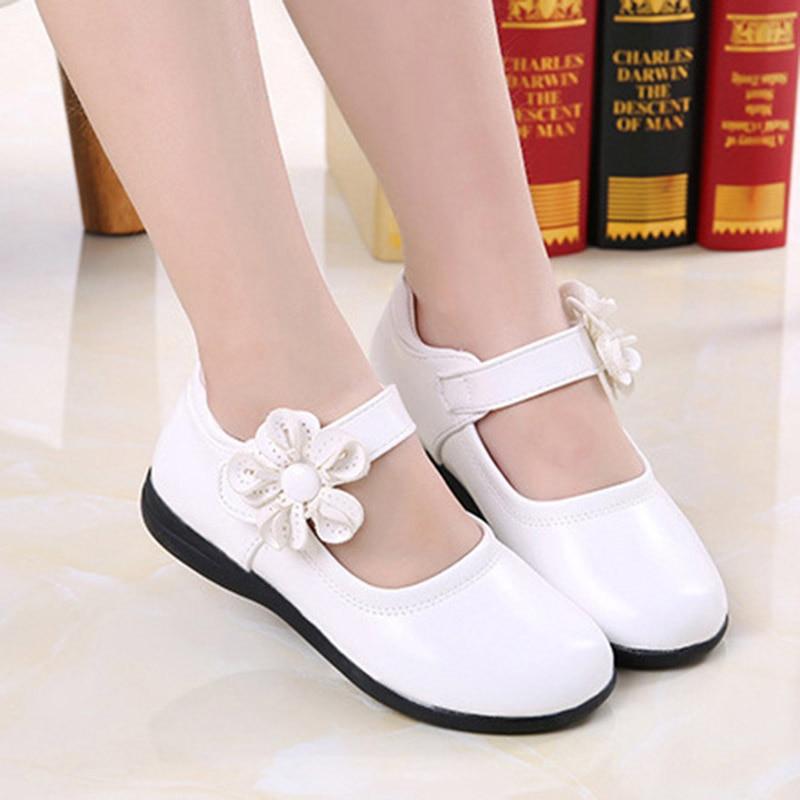 Baby Kid Girls Faux Leather Mary Jane Flat Slip On Strap Bow Shoes Size Wedding