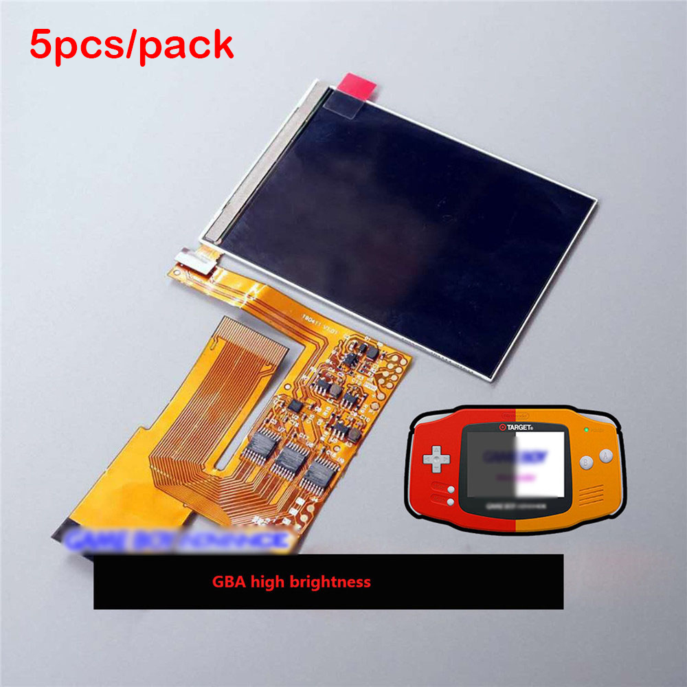 5pcs LCD High Light Screen For Nintend GBA Game Console 10 Levels High Brightness IPS Backlight LCD Kit Adjustable Brightness