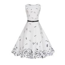 ISHINE White Sleeveless Summer Women Dress Vintage Note Pattern Whole-body Digital Printing Slim Waist Big Hem with Belt
