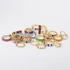 FASHIONSNOOPS moda wielu kolor wieczność zespół delikatne Rainbow CZ słodkie dziewczyny kobiety kolorowe luksusowe pełna CZ stos chudy pierścień