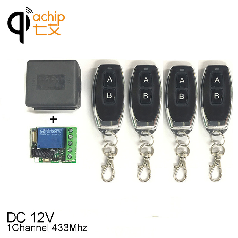 433Mhz Universal Wireless Remote Control Switch DC 12V 1CH relay Receiver Module 1PCS and 4pcs RF Transmitter Remote Controls image