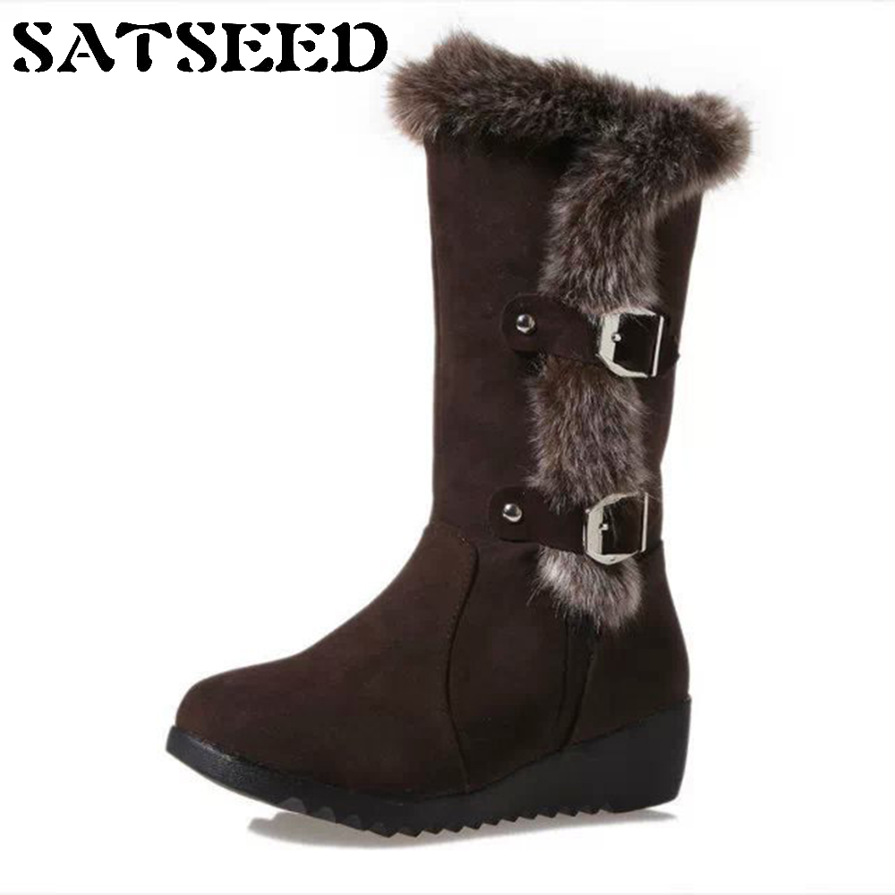 2018 New Women Winter Snow Boots Waterproof Fur Boots Thick Warm Wedge Boots Shoes Mid-calf Buckle Strap Round Toe Fashion new fashion winter snow boots women imitation fox fur snow boots mid calf winter shoes boots for women australia botas bls 056