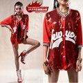 2016 новинка широкий регги dj сексуальный костюм письмо кофты красный блесток уличный танец хип-хоп верхней одежды
