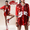 2016 New fashion loose reggae dj sexy costume top  letter sweatshirts Red Sequin street dance hip hop outwear