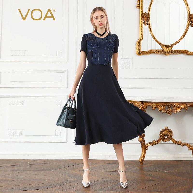 VOA pesado de seda bordado vestido largo azul marino de alta cintura delgada vestido de las señoras de la oficina trabajo vestidos de Otoño de manga corta elegante a881