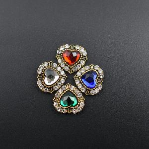 10Pcs Antique Alloy Heart 3d nail art decorations rhinestone charm gliter crystal diamonds Stone strass jewelry accessoires(China)