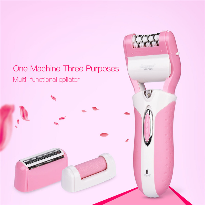 3-In-1 Rechargeable Electric Female Epilator Depilation Bikini Hair Removal Shaver Razor Foot Care Callus Remover for Women S47 цена и фото
