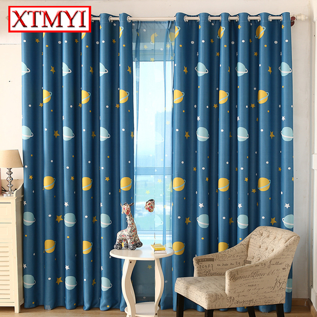 Modern Star Curtains For Children Blackout Curtains For Bedroom Kid Baby  Room Darking Curtains Panel Drapes