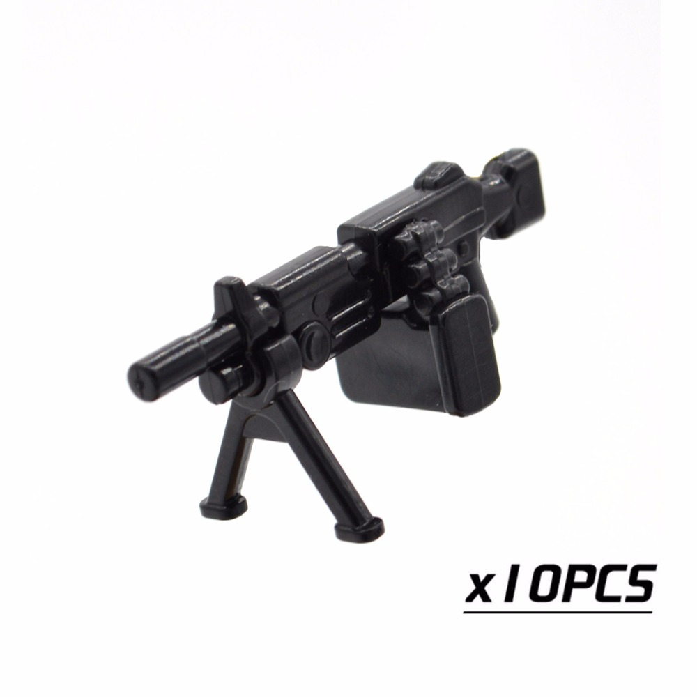10pcs/lot WW2 M249 Machine Guns Squad Automatic Military Weapons Plastic DIY Part Building Blocks Toy for Children ...