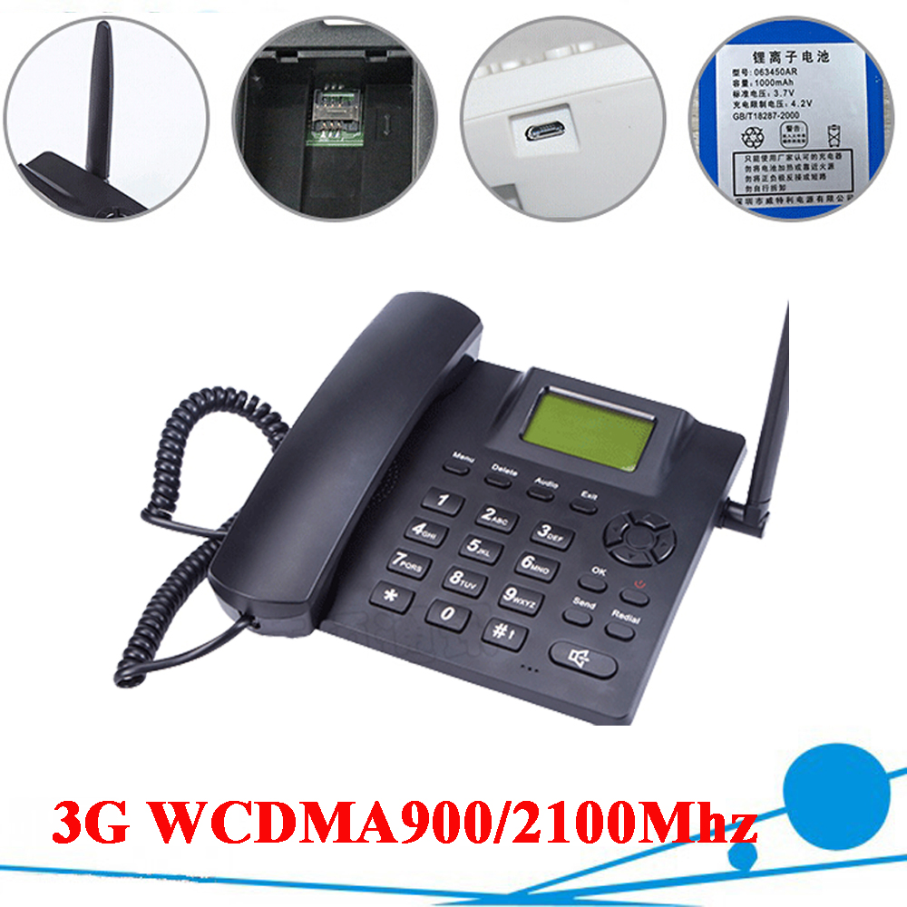 3G WCDMA900/2100Mhz 3G Desk Phone Dual Band Fixed Wireless 3G Desktop Telephone for Business Family with Rechargeable Battery