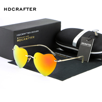 Hot Sale Heart Shaped Metal Harajuku Icecream Rainbow Sunglasses High Quality Gradient Women Fashion Sun Glasses