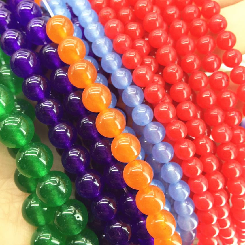 8 color natural dyed stone chalcedony jades stones brilliant round loose beads 4mm 6mm 8mm 10mm 12mm jewe;ry making 15inch B24