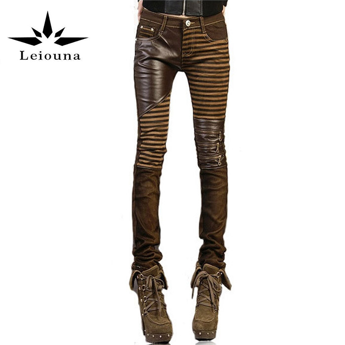 Leiouna High Quality PU Leather Women Plus Size 2019 Fashion Casual Pants Feet Denim Jeans Boot Cut Skinny Pencil Boyfriend