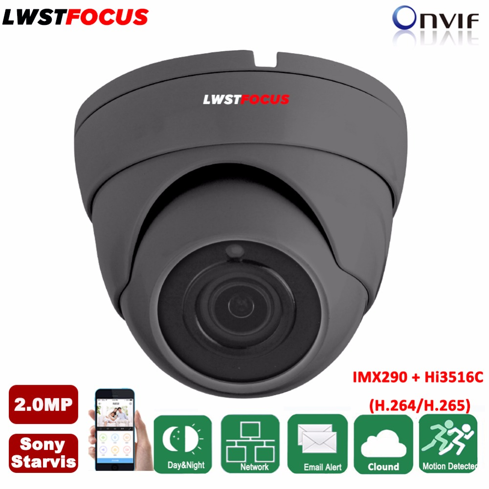 2MP Sony IP Camera 1080P H.265/H.264 Sony Starvis IMX290+Hi3516C Metal Waterproof IR CCTV Dome Surveillance Camera POE ONVIF h265 2mp sony imx290 hi3516c security ip