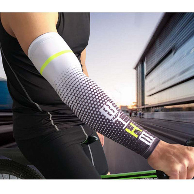 Loogdee 1Pair Cool Men Cycling Running UV Sun Protection Cuff Cover Protective Arm Sleeve Bike Sport Arm Warmers Sleeves 4