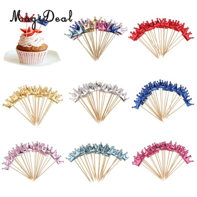 MagiDeal 20pcs PU Leather Crown Cake Topper Cupcake Toothpicks Wedding Birthday Party Baby Shower Party Fruit Food Sticks