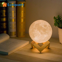 LumiParty Simulation 3D Moon Night Light 3 LEDs USB Rechargeable Moonlight Desk Lamp With Wood Base