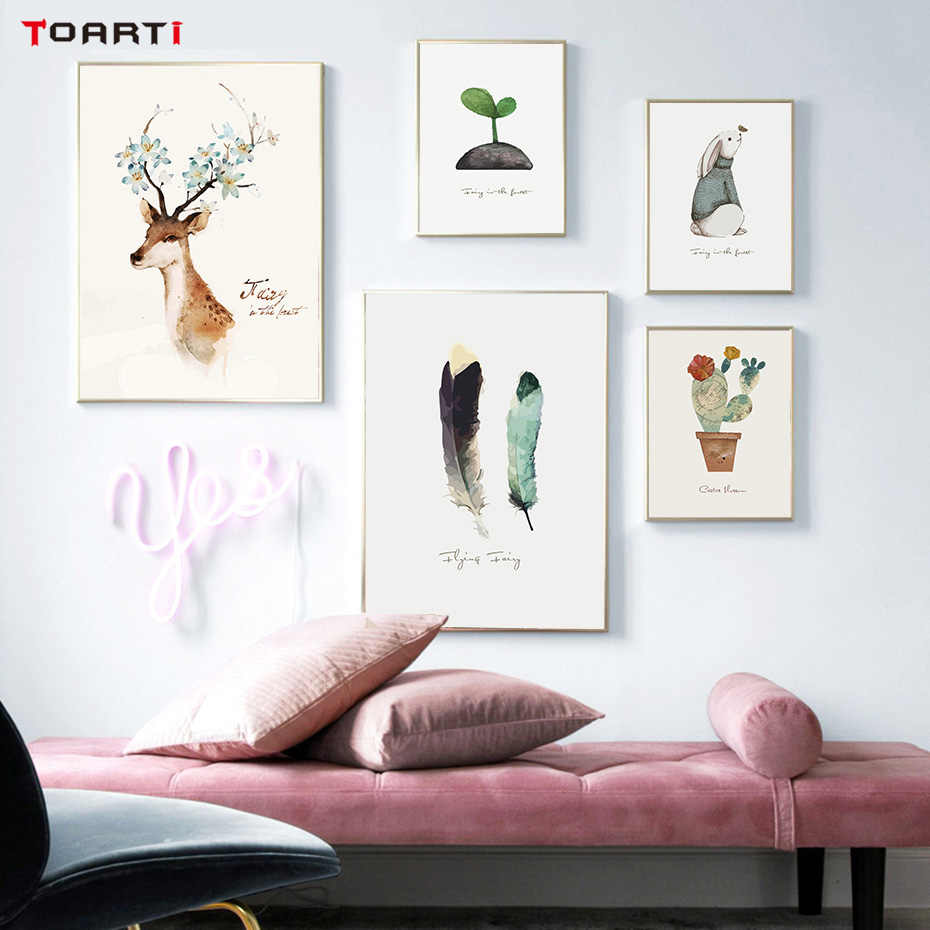 Modern Nordic Deer Cactus Rabbit Print Poster Animals Canvas Painting Art Silhouette Wall Picture For Living Room Home Decor