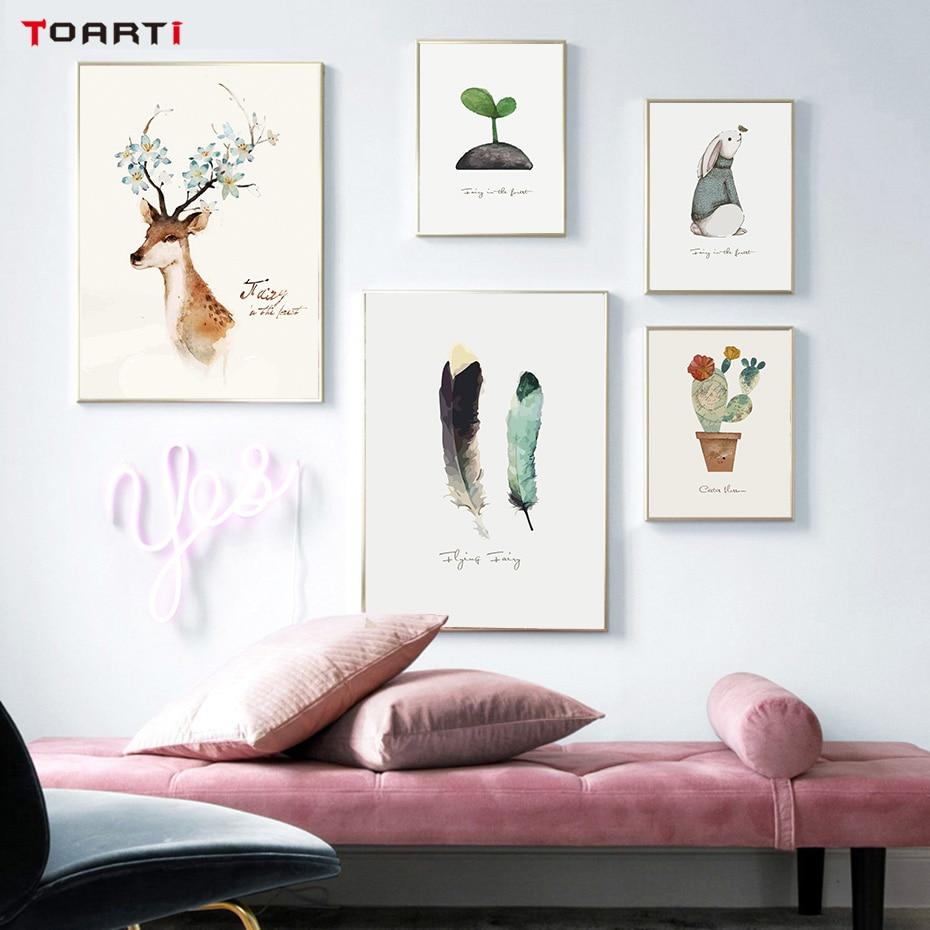 Modern Nordic Deer Cactus Rabbit Print Animals Animals Canvas - Wystrój domu
