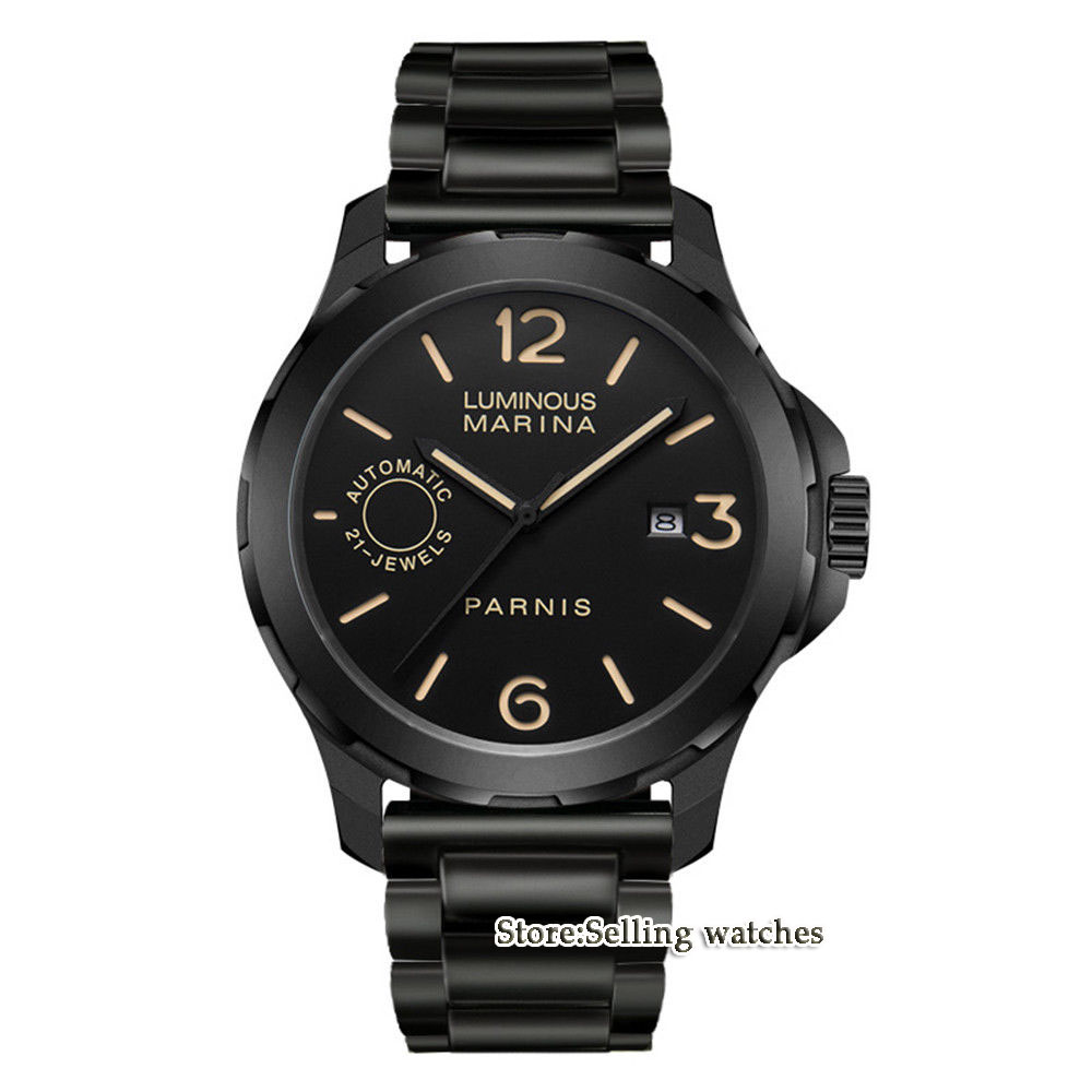 44mm PARNIS Black Dial Stainless steel PVD case Sapphire Glass  Lum Luxury MIYOTA Automatic Movement mens Watch44mm PARNIS Black Dial Stainless steel PVD case Sapphire Glass  Lum Luxury MIYOTA Automatic Movement mens Watch