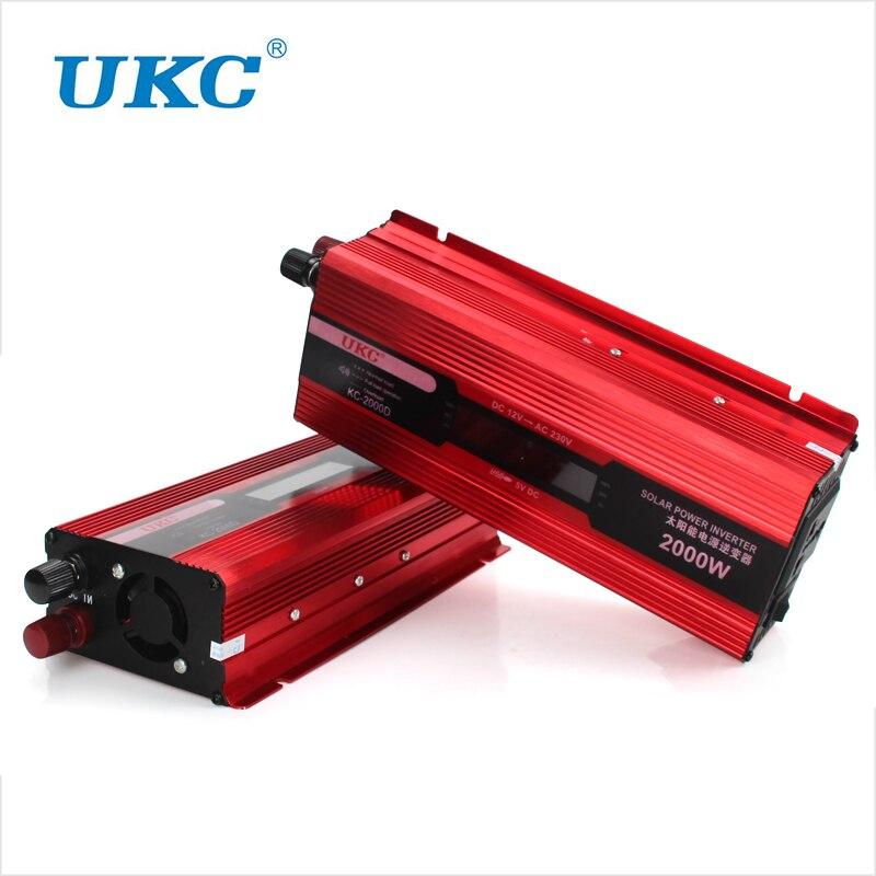 imágenes para UKC Pantalla Digital Vehículo 2000 W USB Car Power Inversor Solar convertidor 12 V DC a AC 220 V Adaptador de Cargador USB Portátil tensión