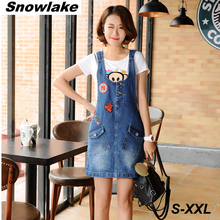 Snowlake Female Korea Style New Spring and Summer 2017 Sweet Denim Suspenders Skirt S-2XL